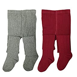 Wrapables Burgundy and Gray Cotton Diamond Weave Knit Tights for Girls (Set of 2), 4-5 Years