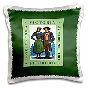 BLN Vintage Travel Posters and Luggage Tags - Hotel Victoria Freiburg, Couple in Local Dress with Pine Trees - 16x16 inch Pillow Case