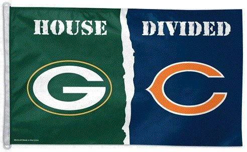 Green Bay Packers vs Chicago Bears House Divided 3x5 Flag from Wincraft