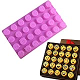 Charm 28 cavity Silicone Emoji Emoticon Cake Mold Smiley Chocolate Candy Baking Mold Pink (Color: Pink)
