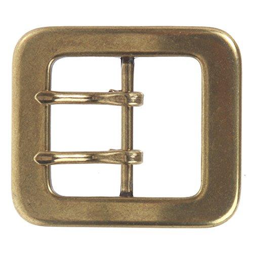 """1 1/2"""" (40 mm) Rectangular Center Bar Double Prong Belt Buckle Color: Brass"""
