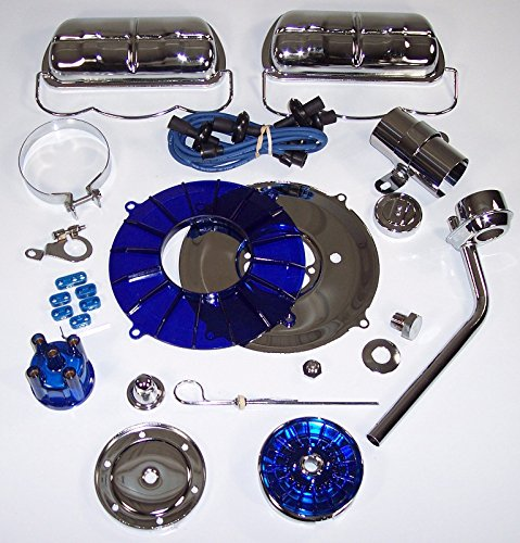 EMPI 8654 Super Chrome & Color 19 pc. Stock Style Deluxe Engine Kit - Blue - VW Bug Dune Buggy Bus Thing Ghia (Engine Vw Buggy compare prices)