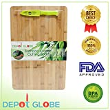 """Bamboo Kitchen Cutting Board And Serving Tray 18""""X12"""" - Cut Cheese, Meat, Vegetables, Fruits - Comes with FREE 4' inch Knife - By Depot Globe"""