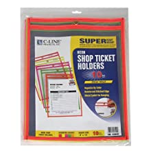 C-Line Stitched Shop Ticket Holder, Assorted Neon Colors, 9 x 12 Inches, 10 per Pack (43920)