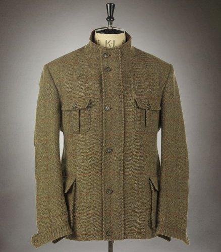 Mens Contemporary Fit Harris Tweed Field Coat with Harris Tweed Certified Lining