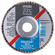 PFERD Polifan SG Abrasive Flap Disc, Type 29, Threaded Hole, Phenolic Resin Backing, Aluminum Oxide