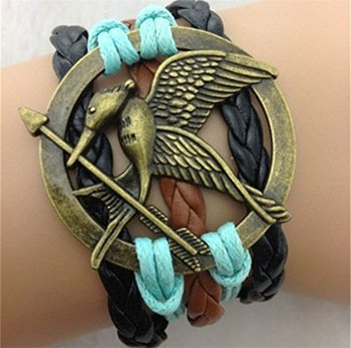 The Hunger Game Style Bracelet, Black, Blue and Brown Leather Bracelet , HG7