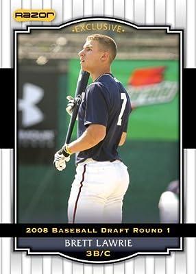 2008 Razor Signature Series WHITE Baseball Card # 16 Brett Lawrie (Prospect - RC - Rookie Card) Toronto Blue Jays - MLB Baseball Trading Card