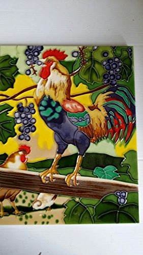 "11"" X 14"" High Gloss, Raised Image, Unique, Handcrafted, Decorative, Ceramic, Artist Tile, Wall Plaque, with Hanger / Stand, Two Multicolor Roosters with Chicken on Barn"