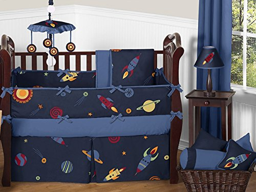 Space Galaxy Rocket Ship, Planet, Galactic 9 Piece Baby Bedding Crib Set front-223825