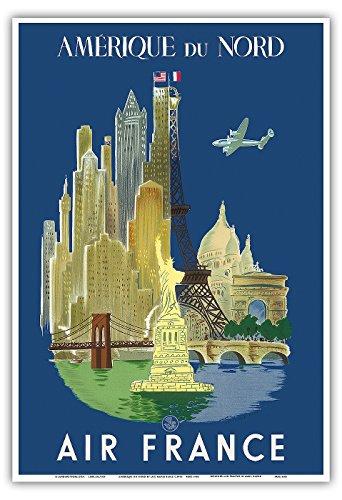 logicos-du-nord-america-del-norte-air-france-la-ciudad-de-nueva-york-y-paris-de-lugares-estatua-de-l