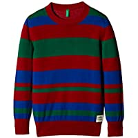 United Colors of Benetton Baby Boys' Sweater (15A105BQ12CII902_Maroon, Green and Blue Striper_0Y)