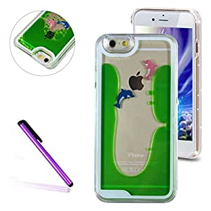 iPhone 6 Plus/6S Plus Case,EMAXELER 3D Solid Color Liquid Luxury Liquid Floating Dolphin Moving Hard Protective Case for iPhone 6 Plus/6S Plus + Stylus Pen--Green