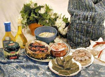 Ajika Greek (Mediterranean) Dinner for Four Gift Basket - International Gourmet Food Gift