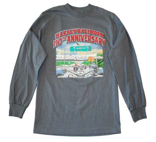 Harley-Davidson Men's 110th Anniversary T-Shirt Long Sleeve Charcoal RIDEL