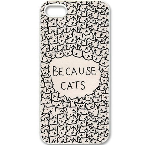 [Because Cats Animal Cat Cartoon Retro Vintage Funny Patterned Hard Back Case Cover Skin For Apple iPhone 5/5S- White Rubber Soft Case Comes with stylus Pen for iPhone by] (Animal That Starts With J)