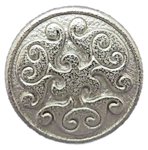 "Renaissance Swirl Metal Button in Polished Silver Finish 3/4"" (19mm)"