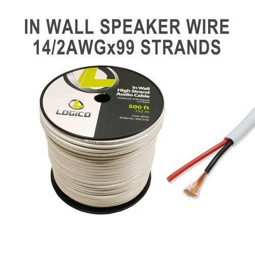 500 Ft In Wall 14 / 2 14 Awg Gauge 2 Conductor Speaker Wire Audio Cable Cl2 Bulk