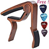 Sound harbor MA-12 Capo Guitar Capo for Acoustic and Electric Guitars, Zinc Alloy- Quick Change Guitar Capo & Free 4 Pick ( RoseWood Color 1 )