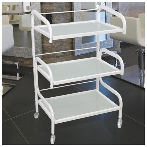 3-Tier Glass Facial Rolling Trolley Cart Beauty Salon Storage