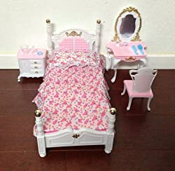 Barbie Size Dollhouse Furniture- Dressing Room with Stand Mirror Pole Hanger & Wardrobe