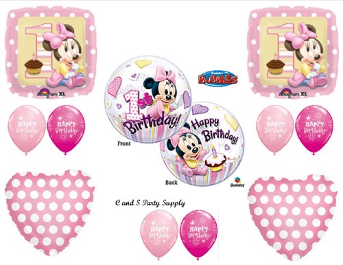 New!! Baby Minnie Mouse Birthday 1St First Party Balloons Decorations Supplies front-1064458