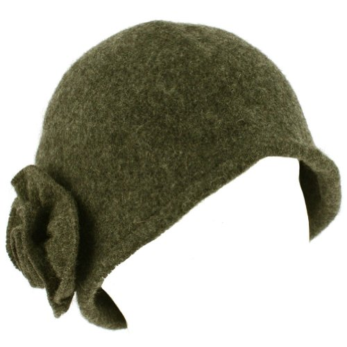 100% Wool Winter Cloche Crushable Foldable Bucket Flower Church Hat Cap Charcoal Gray M/L