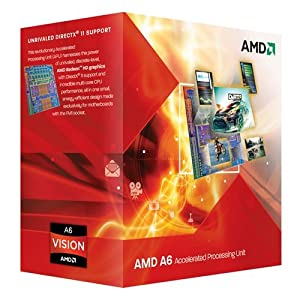 AMD A6-3500 APU with AMD Radeon 6530 HD Graphics 2.1/2.4GHz Socket FM1 65W Triple-Core Processor - Retail AD3500OJGXBOX