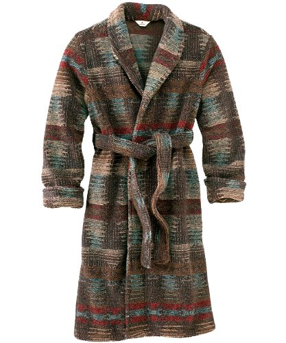 Woolrich Men's Berber Fleece Lined Pile Robe, BROWN NAVAJO (Brown), Size XL