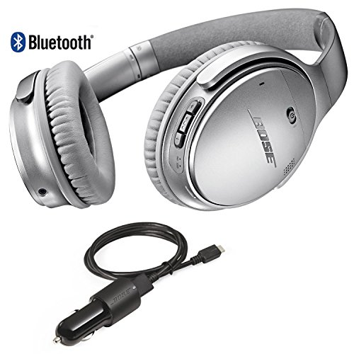 Bose QuietComfort 35 Bluetooth Wireless Noise Cancelling Headphones - Siver & Car Charger - Bundle