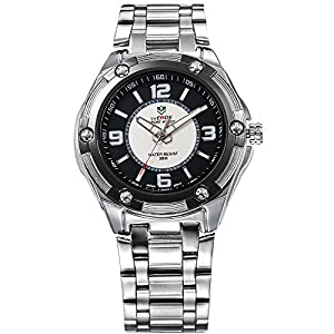Mens Dress Watch Silver Metal Band Black & White Dial White Markers Quartz Movt WH-102