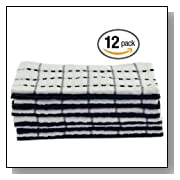 12 Kitchen Towels by Utopia Towels, Size 15 x 25 Inches, 100% cotton - Black and White