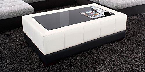 Couchtisch-Kunstleder-Wohnzimmertisch-mit-Glasplatte-Schwarzglas-Beverly-Glastisch