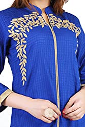 Feather Touch Women's Cotton Kurti (FT3524RB4_Blue_42)