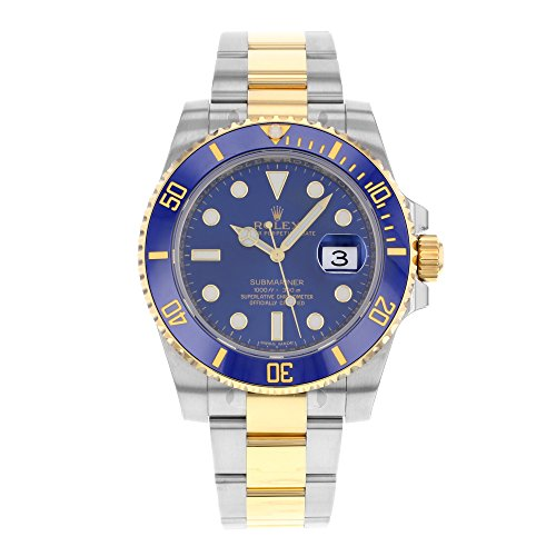 Rolex Submariner Stainless Steel Yellow Gold Watch Blue Ceramic 116613 Box/Papers 2016