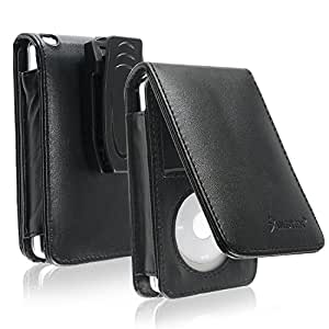 eForCity Synethetic Leather Case Compatible With 30 GB iPod® Video and 80GB / 120GB Classic with Belt Clip and Strap, Midnight Black