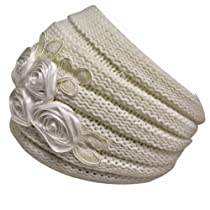 Ivory Thick Ribbed Knit Slouch Headband With Floral Design