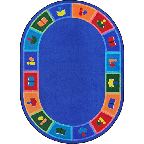 "Joy Carpets Kid Essentials Early Childhood Oval Library Blocks Rug, Multicolored, 7'8"" x 10'9"""