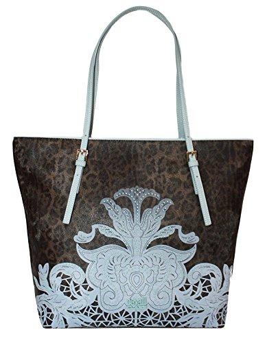 CLASS CAVALLI (Resort) Borsa Shopping Ecopelle Donna Leopard Light Blue CFQ.004