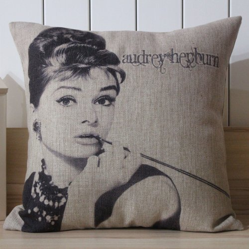 Audrey Hepburn Classic Smoke Cigarette Holder Cushion Cover Pillow Case front-1074318