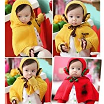 Girls Weave Knitting Hat Cape Coat Scarf Set with Ear Flaps Yellow