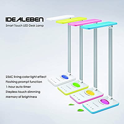 Idealeben led Desk Table Lamps with 256 Multi-Colored Night Light and Timer for Children ,Memory Function Slide Touch-Sensitive Control