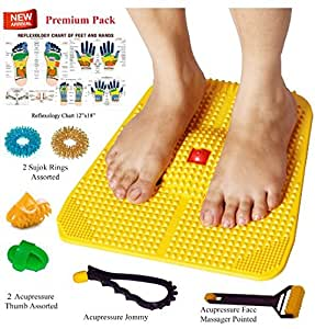 Super India Store Acupressure Power Mat with Magnets n Pyramids for Pain Relief and Total Health Useful for Heel Pain Knee Pain Leg Pain Sciatica Cramps Migraine Tonsils Depression With Acupressure