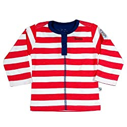 Buzzy Baby Boys' Cotton Long Sleeve T-Shirt With Front Placket (DALLAS_Red_3-6M)