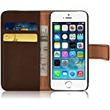 iPhone 5 Case - Retro Leather Wallet Flip Cover for the iPhone 5 and 5s, Brown