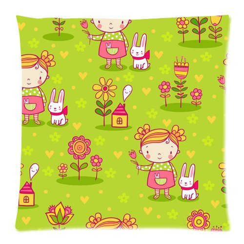 Custom Zippered Pillow Case 16X16 (One Side) With Little Girl And Rabbit Pattern Theme Sweethome321-894 front-205891