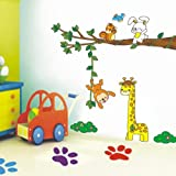 Asmi collection PVC Wall Stickers Wall Decals Tree Girarfe Monkey Rabbit For Kids Room