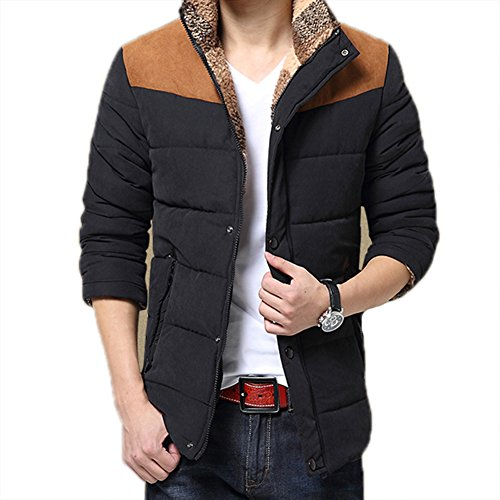 Botetrade Casual Warme Winter Mantel Herren Baumwollmantel Stehkragen Thermal Herren Daunenmantel Patchwork Winter Jacke Schwarz 2XL
