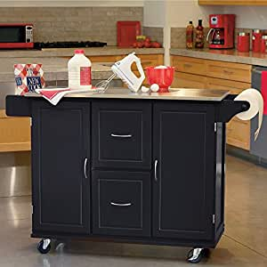 Jefferson Rolling Kitchen Cart with Stainless Stee