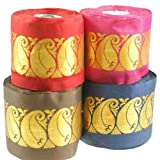 Neotrims Indian Gold Metallic Paisley Wide Ribbon 55mm Decorative Ribbon a traditional Sari ribbon Border with a floral brocade jacquard pattern in Indian Gold thread 6 Stunning colors to choose Mocha Brown Red Cerise Indian Navy Purple and Magenta